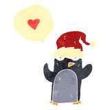 retro cartoon penguin with love heart Stock Photos