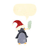 Retro cartoon penguin smoking marijuana Stock Images
