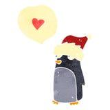retro cartoon penguin wearing christmas hat Royalty Free Stock Photos