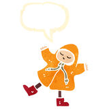 Retro cartoon person in rain coat Stock Images