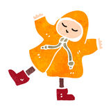Retro cartoon person in rain coat Royalty Free Stock Image