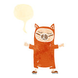Retro cartoon person wearing cat costume with speech bubble Stock Photography