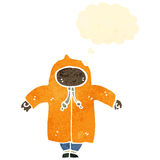 Retro cartoon person wearing rain coat Stock Photos