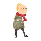 Retro cartoon person in winter clothes Royalty Free Stock Photography