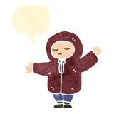 Retro cartoon person in winter coat Royalty Free Stock Image