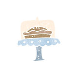 Retro cartoon pie on stand Royalty Free Stock Images