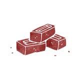 Retro cartoon pile of bricks Stock Images