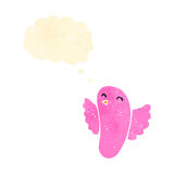 retro cartoon pink bird with thought bubble Royalty Free Stock Images