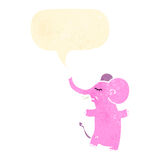 Retro cartoon pink elephant with speech bubble Royalty Free Stock Photos