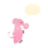 retro cartoon pink elephant with thought bubble Stock Image