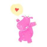 retro cartoon pink hippo Royalty Free Stock Image