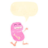 retro cartoon pink monster talking Stock Image