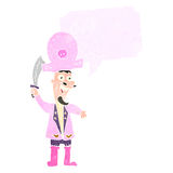Retro cartoon pink pirate Stock Images