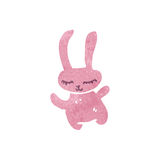 Retro cartoon pink rabbit Stock Images