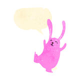 Retro cartoon pink rabbit Royalty Free Stock Photo