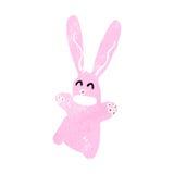 Retro cartoon pink rabbit Stock Photos