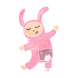 Retro cartoon pink rabbit costume Stock Image