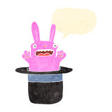 Retro cartoon pink rabbit in hat Stock Photos