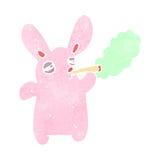 retro cartoon pink rabbit smoking marijuana Royalty Free Stock Images