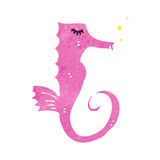 Retro cartoon pink seahorse Stock Image