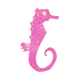 Retro cartoon pink seahorse Stock Photo