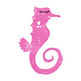 Retro cartoon pink seahorse Royalty Free Stock Image