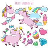 Retro cartoon pink unicorns vector girl fashion patch badges with fancy rainbow, cupcake, ice cream and sweets. Unicorn sticker and cupcake, diamond and Stock Image