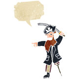 Retro cartoon pirate captain shouting orders. Retro cartoon with texture. Isolated on White Royalty Free Stock Images