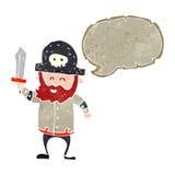 Retro cartoon pirate captain with speech bubble Stock Photography