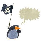 Retro cartoon pirate penguin with speech bubble Royalty Free Stock Photos