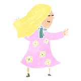 Retro cartoon pointing blond woman Royalty Free Stock Photography