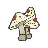 Retro cartoon poisonous mushroom Stock Image
