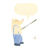 retro cartoon polar bear with fishing rod Stock Image