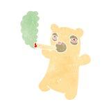 Retro cartoon polar bear smoking Royalty Free Stock Photo