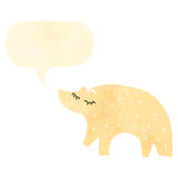 retro cartoon polar bear with speech bubble Stock Images