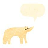retro cartoon polar bear with speech bubble Stock Image