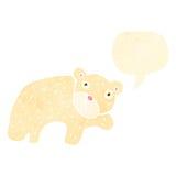 retro cartoon polar bear with speech bubble Royalty Free Stock Images