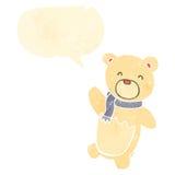 retro cartoon polar teddy bear with speech bubble Royalty Free Stock Photo