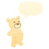 retro cartoon polar teddy bear with speech bubble Stock Images