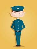 Retro cartoon policeman. Illustration Stock Photo