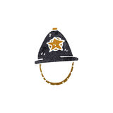 Retro cartoon policeman's helmet Stock Images