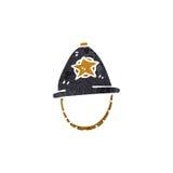 retro cartoon policeman's helmet Stock Images