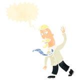 Retro cartoon posh man gestureing to follow. Retro cartoon with texture. Isolated on White Stock Photo
