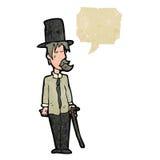 Retro cartoon posh tramp. Retro cartoon with texture. Isolated on White Royalty Free Stock Photography