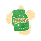 Retro cartoon potato chips bag Royalty Free Stock Image