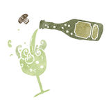 Retro cartoon pouring champagne Stock Photography