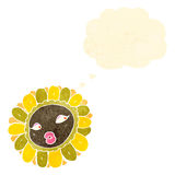 Retro cartoon pretty sunflower Royalty Free Stock Images