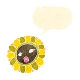 Retro cartoon pretty sunflower Stock Photos