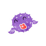 Retro cartoon puffer fish Stock Image