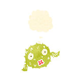 Retro cartoon puffer fish with thought bubble Royalty Free Stock Images